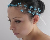 Bridal Tiara, Beautiful handmade Tiara, headband,hairband ,tiara with beautiful blue glass beads