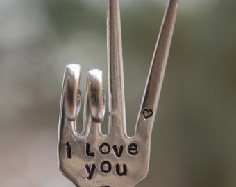 I Love You hand stamped PEACE SIGN Garden Marker with hearts    Vintage fork upcycled Garden art
