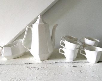 Vintage White Tea Set Teapot Teacups