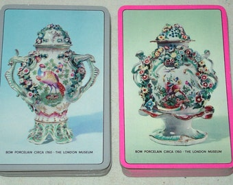 London Museum Porcelain Urns Playing Card Set Full & Partial Deck Pink-Blue Games Swap Trade Crafts Altered Art Scrapbooking
