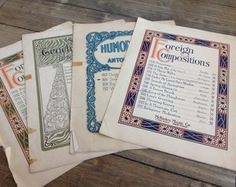 Vintage Sheet Music total of 13 pages, including 4 covers.