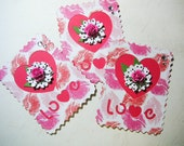 3 Postage Stamp embellishments, scrapbook embellishment, Card Topper, Tag
