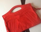 Holiday Red Canvas Handbag Vintage 1980s