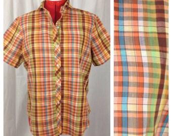 Rusty Rainbow Camp Shirt 1970s S/M/L