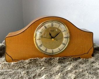Vintage Clock Smiths Sectric Recycled Mantel Shelf Clock 1970's Napoleon Shape