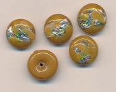 12 vintage Japanese lampwork foiled glass cabochons - 14 mm - rich golden brown with colored foil