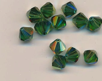 12 vintage Swarovski crystals - art 364/5301 - 8 mm - discontinued color green turmaline AB