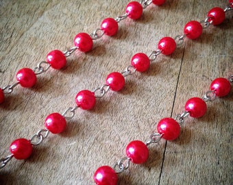 100cm Round Pearl Red Bead Necklace Chain 5mm Bead Silver Chain Jewelry Making Supplies (EC045)
