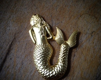 1 Pc 24K Matte Gold Plated Mermaid Charm Small Charms Jewelry Supplies (BB077)