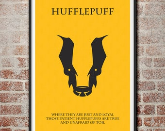 The Houses of Hogwarts: Hufflepuff Minimalist Harry Potter Poster
