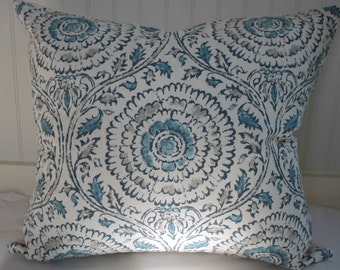 Blue, Grey and Ivory Floral Medallion Pillow Cover / 24 X 24 / Designer Linen Fabric with Canvas Back / Handmade Home Decor