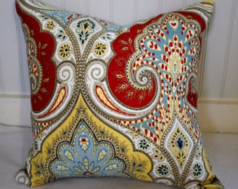 Red, Yellow, Blue and Tan Damask Pillow Cover / Same fabric both sides in Latika Festival