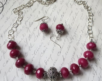 Ruby Jade and Sterling Silver Necklace and Earring Set with Bali Handmade Sterling Silver
