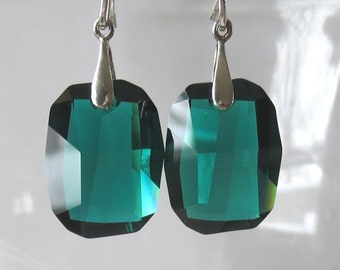 Emerald Crystal Graphic Style Earrings with Sterling Silver Bails and Earwires
