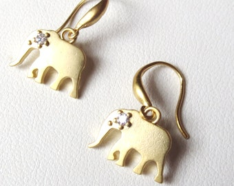 Gold Plated Elephant Earrings with CZ's