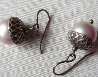 Brass Acorn Earrings