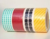 Polka Dots,Stripes,and Solid Red Washi Tape Set of 4 Rolls