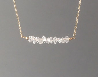 Herkimer Diamond Straight Beaded Necklace available in gold, rose gold, or silver