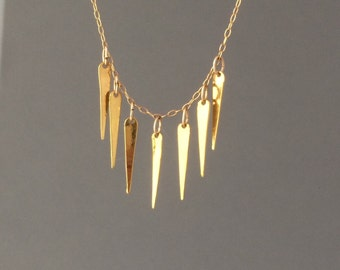Seven Spike Gold Fringe Bar Necklace also in Silver