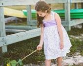Laney Dress , Lilac tones Scalloped Hem, Lace Flower Trim , Criss Cross Lace trim Straps Girls Sizes 2 t - 8