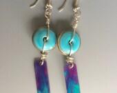 Gypsy BoHo Artisan Lampwork with Faux Enamel Copper Slats in Blues and Purples