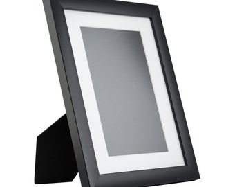 1WB3 Contemporary Table-top 8.5x11 Matte Black Standing Picture Frame with Mat (1WB3BK8511EASEL1)