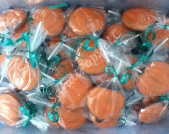 "24 3"" pumpkins Halloween fall leaves chocolate lollipops"