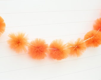 Orange tulle garland Party decorations, weddings, baby showers, room decor