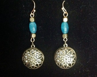 Aquamarine Art Nouveau Earrings