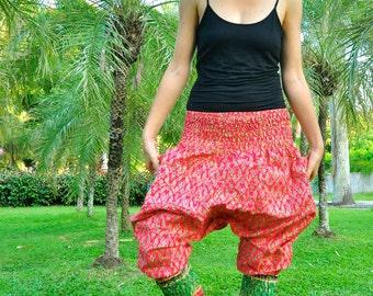 Thai Harem pants, Short legs design, Cotton, Pink w Green/Gold Design