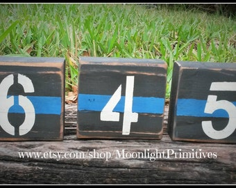 Police Badge Number Blocks, Police Wife, Fire, Thin Blue Line, Thin Red Line, Wooden Blocks, Firefighter, Law Enforcement, Police Officer