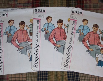 3-Vintage 1964 Simplicity 5539 ...Complete Boys Shirt Patterns ...Sizes 8/10/12...Short and Long Sleeve...Chest Sizes 26-30 Inches..