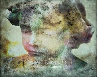 Surreal Dreamlike Angel 'Eternal Sleep'  Cemetery Guardian Angel  Child Statue Fine Art Photography Print or Gallery Wrap Canvas Giclee