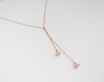 Minimalist pearl necklace - 14k gold filled chain or sterling silver - freshwater creamy pearls - by fildee