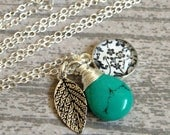 Sterling Silver Turquoise & Leaf Charm Necklace with Black and White Floral Print Illustration Charm - Summer Charm Necklace