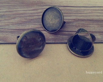 6set/lot  antique bronze ring bases with glass 25mm
