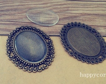 6set  30mmx40mm Antique Bronze Oval Pendant Base tray with glass
