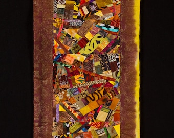 Modern Art Quilt Wall Hanging//Collage//FREE SHIPPING