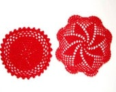2 Red hand dyed Crochet Vintage Doilies
