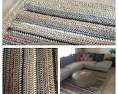 """Handmade Crochet Carpet /Oversized Crochet Rug / Rectangular Crochet Rug / 9'6"""" x 6'6"""" Crochet Rug / Cord Crochet Rug/ Large Crochet"""