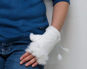 Valentine's Day Gift - Fingerless Gloves with Rabbit Fur - Gift Ideas, Winter Accessories, Xmas Gift,