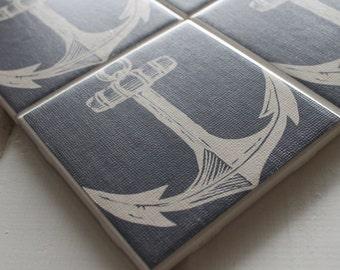 Nautical Anchor Coasters Four Piece Ceramic Tile Set