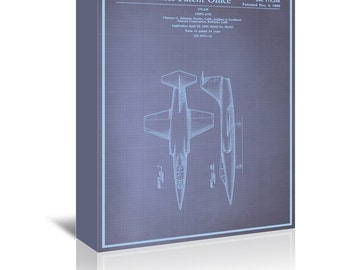Airplane Blue Print Art Ready-to-Hang Premium Gallery Wrap Canvas
