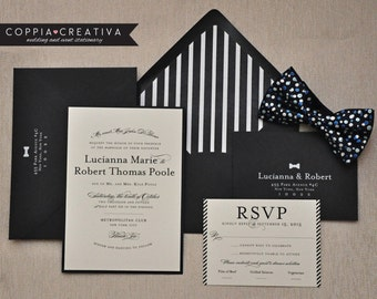 Wedding Invitation - Black and White - Black Tie - Bowtie - Classic Wedding Invitation