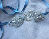 Blue- Gray and Silver Rhinestone Ribbon Headband