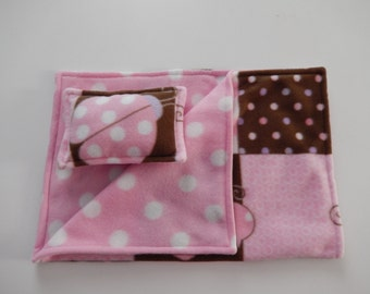 Pink and Brown Patchwork Print Fleece Pillow and Blanket Set for American Girl and 18 Inch Dolls.