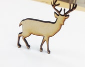 Deer Buck with Antlers Pin | Laser Cut Jewelry | Wood Accessories