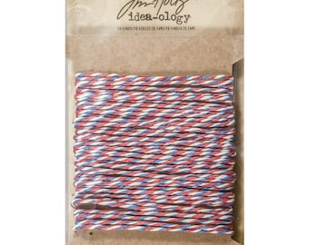 Tim Holtz Idea-Ology Airmail Paper String Twist Twine, 10 Yards Red White and Blue Twine