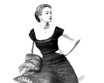 1950s Evening Dress, Cap Sleeve in Silk Organdy Ribbon - a Hairpin Lace pattern PDF 1155