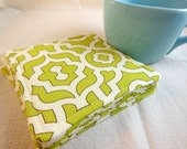 Green Lattice Coaster - Green Fabric Coaster Set - Mug Rug - Set of Four